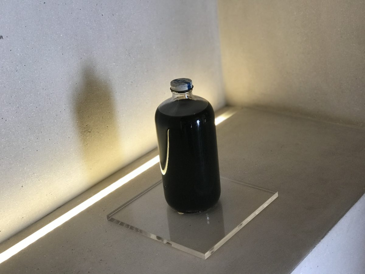 Bottle of crude oil from one of the first exploratory drillings, once owned by Sheikha Salama bint Butti